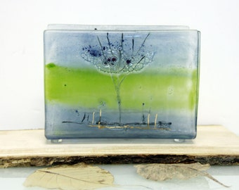 Napkin Holder, Fused Glass Calm light green and blue tree landscape, housewarm hostess gift