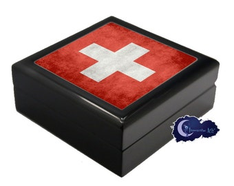 Flag of Switzerland - Jewelry and Keepsake Box