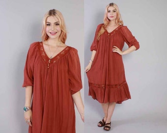 Vintage 70s GAUZE DRESS  / 1970s Ethnic Dusty Burgundy Cotton & Crochet Bohemian Festival Tent Dress