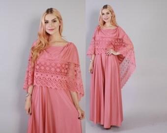 Vintage 70s MAXI DRESS / 1970s Dusty Pink Boho Dress with Lace Trim Cape Back xs - s