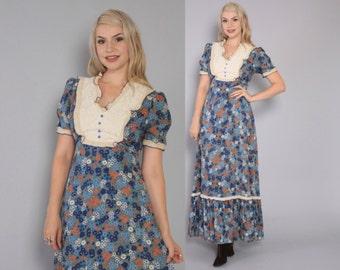 Vintage 70s MAXI DRESS / 1970s Blue Floral Puff Sleeve Long Boho Dress S - M