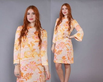 Vintage 60s DRESS / 1960s PSYCHEDELIC Signature Print Bell Sleeve Melon Mini Dress S