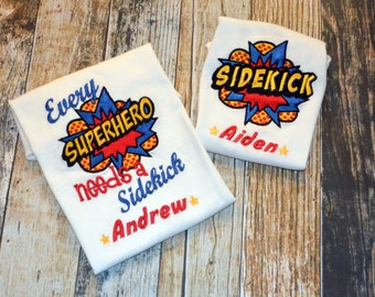 Superhero Comic Book Brother Tshirts - Every Hero Needs a Sidekick - Personalized Sibling Shirt Set