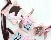 Shabby Chic Vintage Horse Happy Birthday Banner Party Sign Decoration Pink and Brown with hints of Aqua
