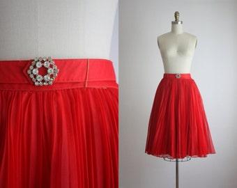 pleated chiffon skirt / 1950s circle skirt
