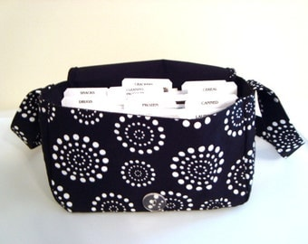Super Size Coupon Orgnaizer- Attaches to Your Cart- - Black with White Dotted Circles