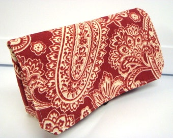 READY TO SHIP Coupon Organizer Cash Budget Organizer Holder Coupon Wallet Attaches to your Shopping Cart  Red and Cream Paisley Decor Fabric