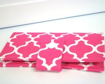 Fabric Checkbook Cover, Checkbook Holder Cash Holder - Hot Pink Lattice Quatrefoil