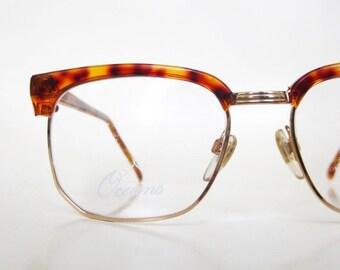 ON SALE Vintage Horn Rim Eyeglasses 1980s Tortoiseshell Glasses 80s Mid Century Modern Mod Eighties Mad Men Sunglasses Deadstock Optical Fra