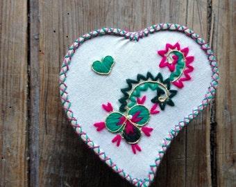 Antique Portuguese Fabric Heart Box