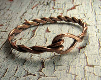 Men's Solid Copper Twisted Bracelet -  For Him - Fathers Day - Men's Jewelry - Made to Order - Hammered Copper Jewelry Copper Jewelry