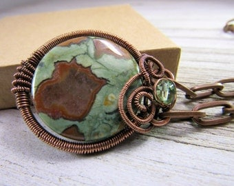 Artisan Copper Pendant - Rain Forest Jasper and Copper Wire Wrapped Pendant- Copper Jewelry - Gifts for Her