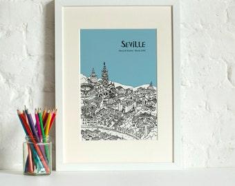 Personalised Seville Print | Unique Wedding Gift | Seville Illustration | Art Print | Engagement Gift | Custom Gift | City Print | Skyline