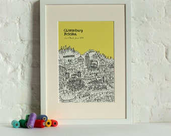 Personalised Glastonbury Print | Glastonbury Festival | Unique Engagement Gift | Custom Wedding Gift | | Glastonbury Festival Picture