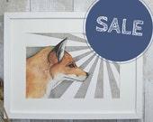 Fox art mixed media illustration - digital print - red fox drawing - wildlife art