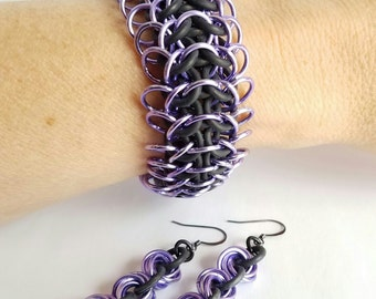 Black Rubber and Purple ISG Weave Chainmaille Bracelet and Earrings