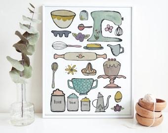 Kitchen Art Watercolor Print