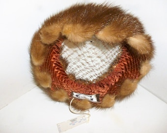 VERY JACKIE O - Vintage 1950's - Gimbels - Mink - Pill Box - Hat - New Old Stock With Tag