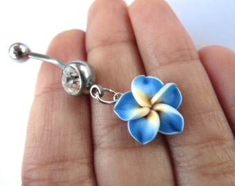 Belly Button Ring Jewelry. Blue Hawaiian Flower Plumeria Dangle Belly Ring Hawaii Navel Stud Jewelry Bar Barbell Piercing Tropical Hibiscus