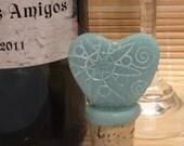Faux Sea Beach Glass Heart Bottle Stopper Wine Cork Blue - Handmade Valentine's Day Gift