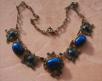 Victorian Art Nouveau Czech Lapis Blue Glass Brass Filigree Necklace