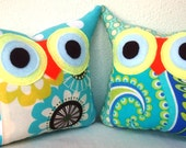 Set of TWO 2 pillows /Aqua /TWO/Polyfil Stuffed little owl pillows decoration/collection - Ready to ship