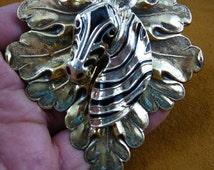 large Zebra head zebras wild horse lover zoo safari on leaf repro Victorian brass pin pendant jewelry (B-zebra-120)