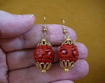 Earrings red round CINNABAR pierced French wire wood carved bead beads EE400-17