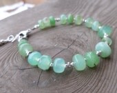 Smooth Large and Beautiful Chrysoprase with Sterling and Fine Silver Bracelet