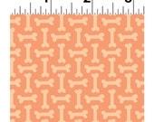 DOG LOVERS by Clothworks Fabrics - Light Orange Dog Bones # Y2000-35 - Dog Quilt Fabric - By the Yard - Puppy fabric - aqua and grey