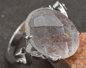 Sterling Silver and Quartz Crystal Ring Size 5
