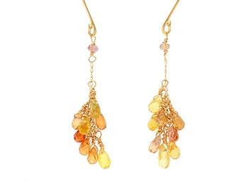 Sunburst Sapphire Earrings on 14KT Gold French Wires, Yellow Orange Sapphire Briolettes, September Birthstone, Comfortable Dangle Earrings
