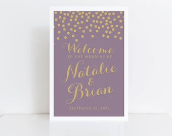 Wedding Welcome Sign  Welcome Wedding Sign  Dot Wedding Sign  Modern Welcome Sign  Confetti  Welcome Poster  Wedding Poster