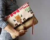 Leather fold over clutch, fold over bag, fold over purse,  wool and  distressed cow hide leather clutch , boho clutch
