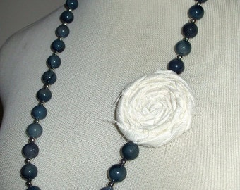 Blue Tiger Eye Beaded Necklace w/ White Rosette, Fashion Accessory, Rosette Necklace, Vintage Beaded Necklace