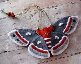 Cecropia Moth Ornament - Made to Order Embroidered Fiber Art