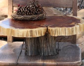 "Rustic Cake Stand, OoaK, Tree slice + Stump, Inlaid gemstone, 15""x13""x1.25"" height 5.5"", Texas rustic woodsy wedding, party, event, dessert"