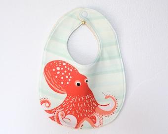 Organic Baby Bib - Octopus Baby Bib - Soft & Absorbant Handmade Baby Bib, Octopus Bib, Ocean Bib, Organic Bib