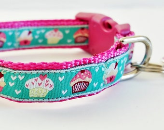 Cat Collar / Dog Collar / Teacup / Kitty Cat / Puppy / 1/2 Inch Width / Breakaway Buckle / Cupcake / Handmade / Adustable / Small Dog