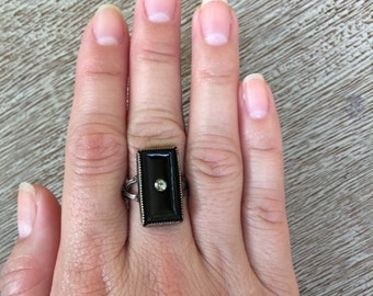 Vintage Onyx Ring Art Deco Style Sterling