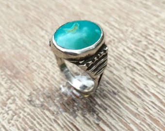 Vintage Turquoise Ring Silver