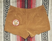 Vintage Reclaimed Kiss My Ass Tan Suede Shorts size 4