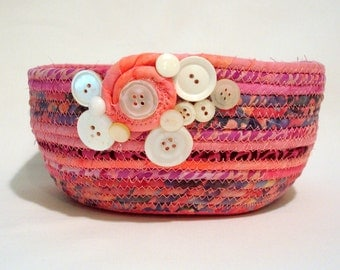 Hot Pink Coiled Fabric Bowl with White Button Trim