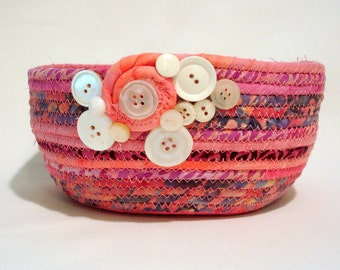 Hot Pink Coiled Fabric Bowl