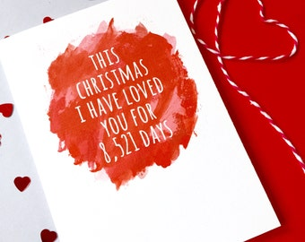 Personalised Christmas Days Of Love Watercolour Card