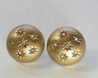 TRIFARI Button Earrings Gold Tone Dome Starburst Rhinestones Signed Vintage Clip On