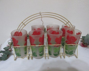 1950s Tumblers in Caddie Set of 7 Frosted Red Flower Gold Metal Beverage Carrier