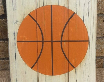 Handmade - Wood Slat BASKETBALL Wall Hanging - Sports Wall Art by Cheleen