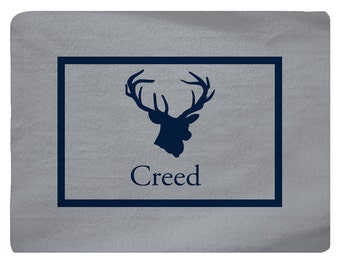 Nursery Deer Head Theme Plush Fuzzy Area Rug -  Shown Navy on Silver Grey- Size 48x36,  96x44, 96x60-Other Colors available