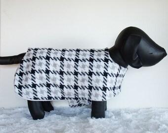 Fleece Dog Jacket, hound's-tooth dog coat, black and white pet coat, double thick fleece pet jacket